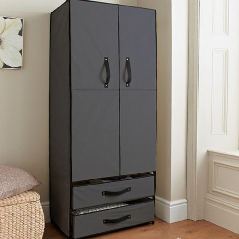 Grey Canvas Wardrobe & Drawers Unit